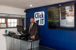 Greeting customers at Click IT Computer